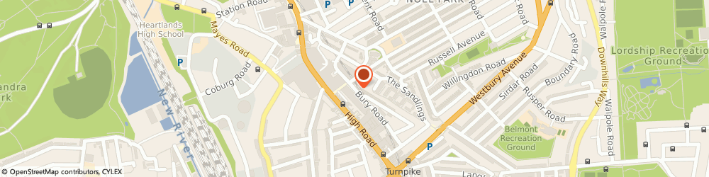Route/map/directions to Charterhouse Wedding Cars, N22 6HX London, 19 BURY ROAD