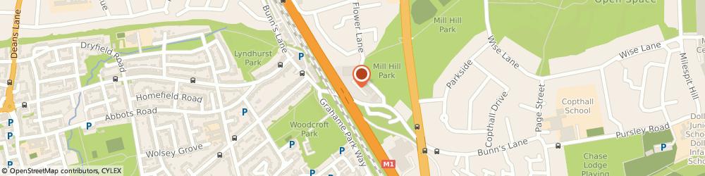 Route/map/directions to Mill Hill Music Complex, NW7 2AJ London, 1, Bunns Ln, Bunns Lane Works