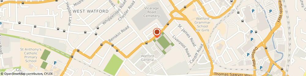 Route/map/directions to Vicarage Road Cemetery, WD18 0EJ Watford, VICARAGE ROAD