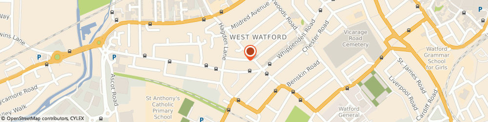 Route/map/directions to Medriving Driving School, WD18 7SQ Watford, 123 Princes Avenue
