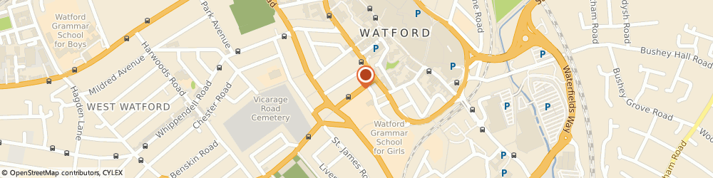 Route/map/directions to EURO CONNECT CENTER LTD., WD18 0DE Watford, 29 Vicarage Road