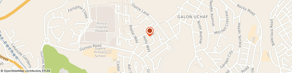 Route/map/directions to N H S Business Services Centre, CF47 9SB Merthyr Tydfil, CHESTNUT WAY GURNOS ESTATE