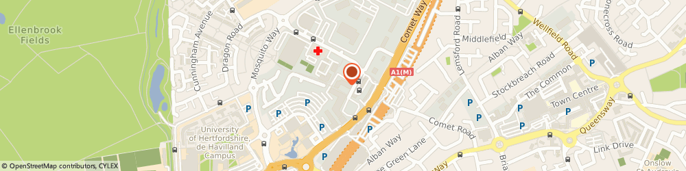 Route/map/directions to Bishops Veterinary Surgery, AL10 9RQ Hatfield, 5 Parkhouse Court