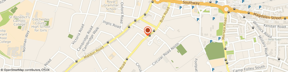 Route/map/directions to Fast-Fit Tyres & Exhausts, CO3 3DL Colchester, 115 Butt Road