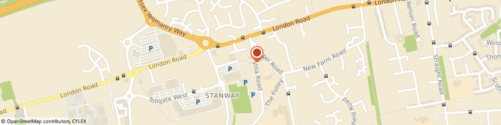 Route/map/directions to The Fringe, CO3 0RH Stanway, 14 Villa  Road