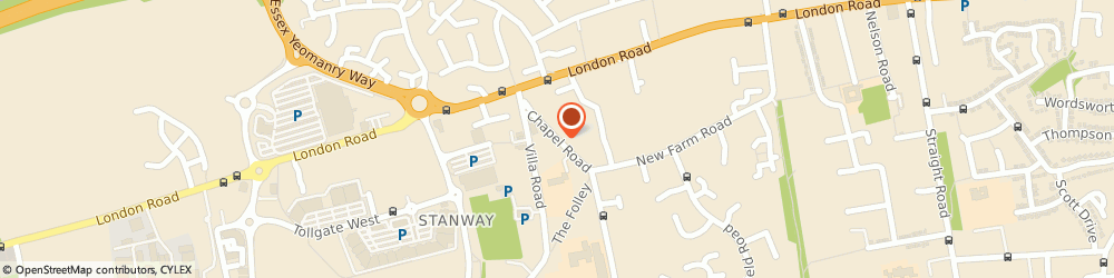 Route/map/directions to First Choice Home Improvements, CO3 0PU Stanway, 8 Chapel Road, Stanway Chapel Road