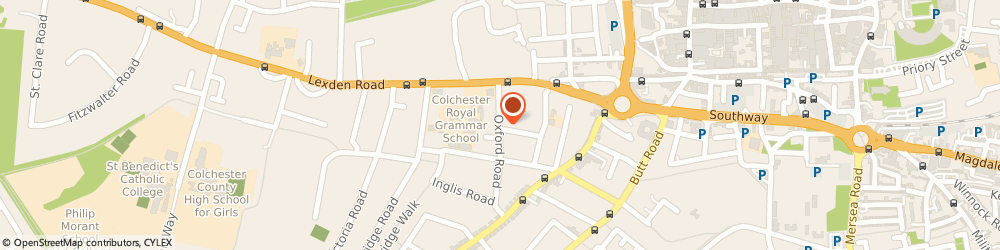 Route/map/directions to 9 Oxford Road Acohol Project, CO3 3HN Colchester, 9 Oxford Road