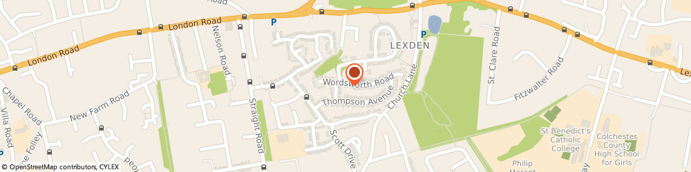 Route/map/directions to Beautiful You at Home, CO3 4HR Colchester, 16 Wordsworth Rd
