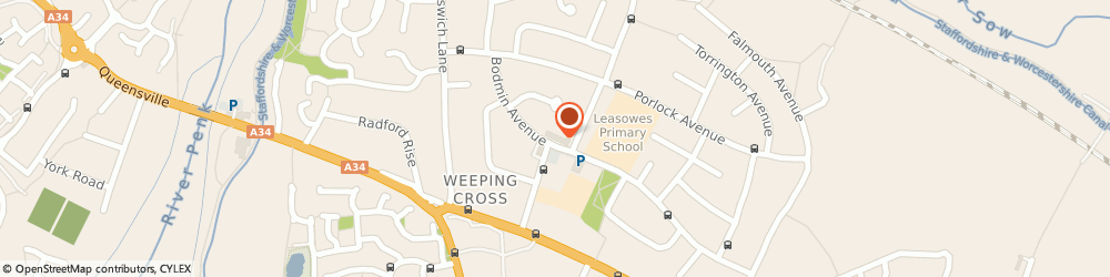 Route/map/directions to Post Office Limited, ST17 0EF Stafford, 49 Bodmin Avenue