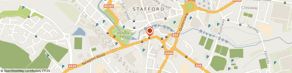 Route/map/directions to ASDA Tyres - Stoneacre - Peugeot, ST16 2EZ Stafford, Newport Road