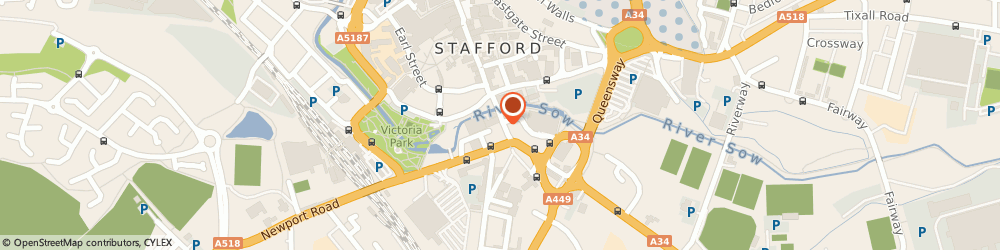 Route/map/directions to SUBWAY RESTAURANT, ST16 2HL Stafford, 11-12 Bridge Street