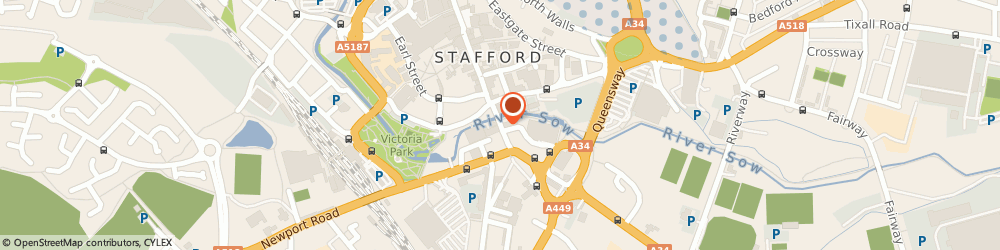 Route/map/directions to The Picture House Stafford, ST16 2HL Stafford, BRIDGE STREET