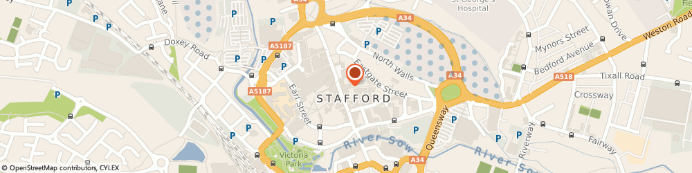 Route/map/directions to Post Office Limited, ST16 2HN Stafford, 3 Greengate Street