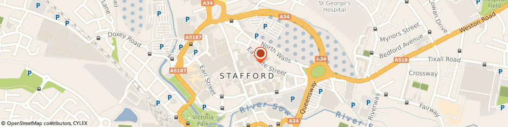 Route/map/directions to Market Vaults, ST16 2LA Stafford, 4 St Martins Place