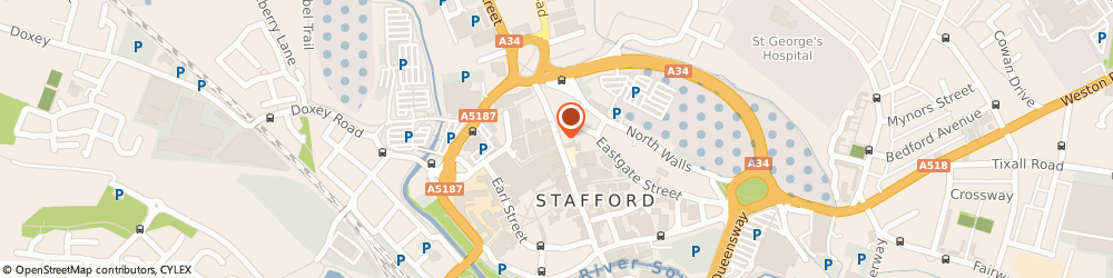 Route/map/directions to The Butler's Bell Pub, ST16 2NT Stafford, 27 Gaolgate Street