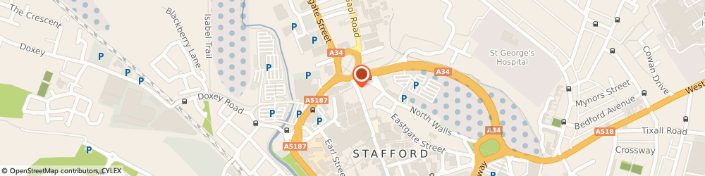 Route/map/directions to Specsavers Opticians and Audiologists - Stafford, ST16 2BQ Stafford, 20 Gaolgate Street