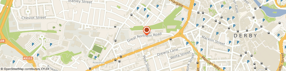 Route/map/directions to Capri Motors Limited, DE1 1LT Derby, 77 Great Northern Road