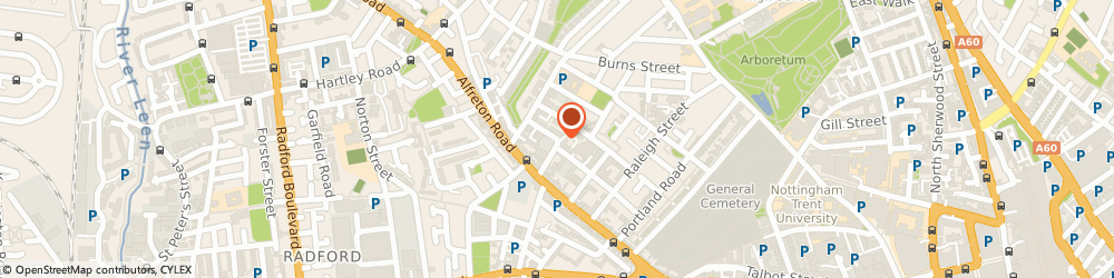 Route/map/directions to Johnstone's Decorating Centre, NG7 4EX Nottingham, Gamble Street
