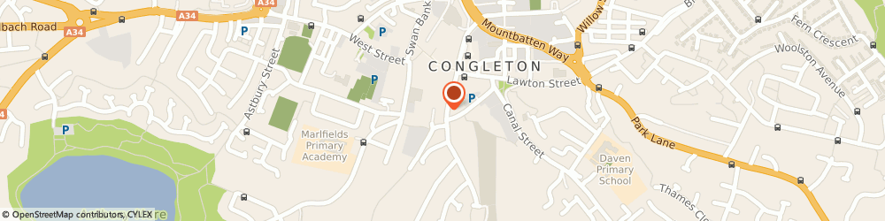 Route/map/directions to HELPFUL LAW LTD, CW12 4AN Congleton, ST JAMES HOUSE, 14 MOODY ST