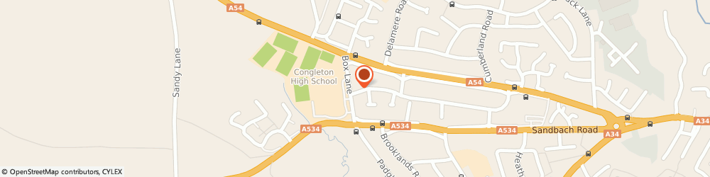 Route/map/directions to Longton High School, CW12 4NS Congleton, Box Lane