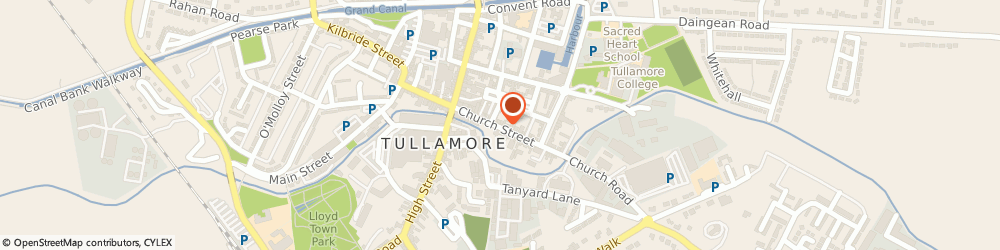 Route/map/directions to Cleo s Hairdressing Salon,  Tullamore, CHURCH ST