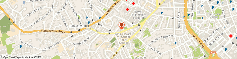 Route/map/directions to The National Centre for Stereotactic Radiosurgery, S10 2PY Sheffield, 452 Glossop Road