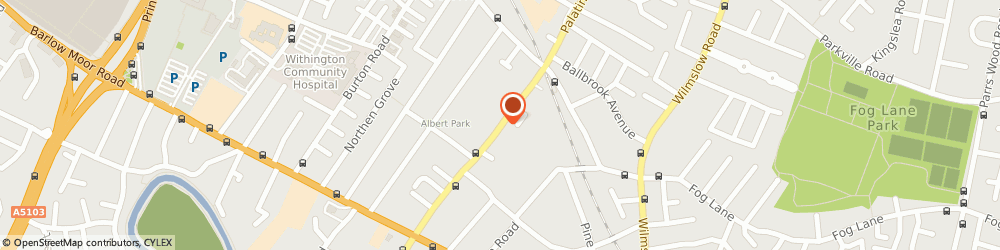 Route/map/directions to Dr. Emad Tukmachi Manchester, M20 3JQ Manchester, 87 PALATINE ROAD