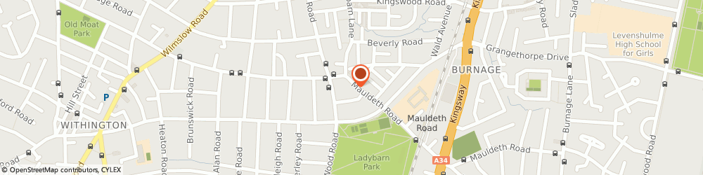 Route/map/directions to Showman Optician, M14 6SQ Manchester, 114, MAULDETH ROAD
