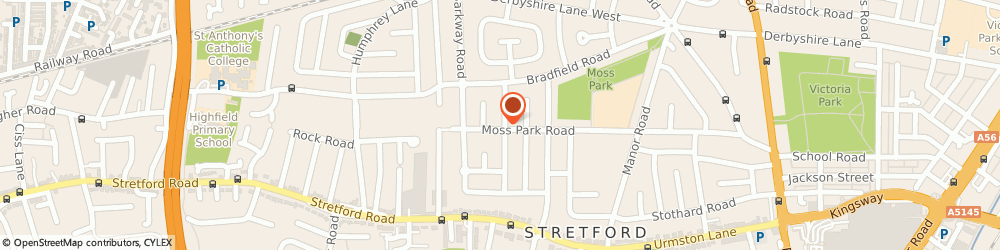 Route/map/directions to Zaks Mini Travel, M32 9HQ Manchester, Moss Pk Road, Stretford