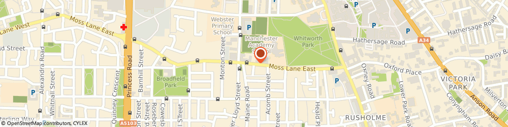 Route/map/directions to Manchester Academy High School, M14 4PX Manchester, Moss Lane East