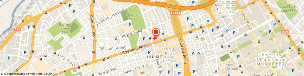 Route/map/directions to CHAN, K P, M15 5TJ Manchester, 175 Royce Rd, Hulme Medical Centre