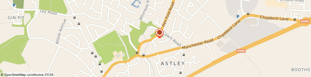 Route/map/directions to CT Blinds & Shutters, M29 7ET Manchester, Church Rd Astley
