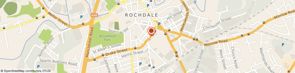 Route/map/directions to Holiday Claims Expert, OL16 1PS Rochdale, 136 Drake St