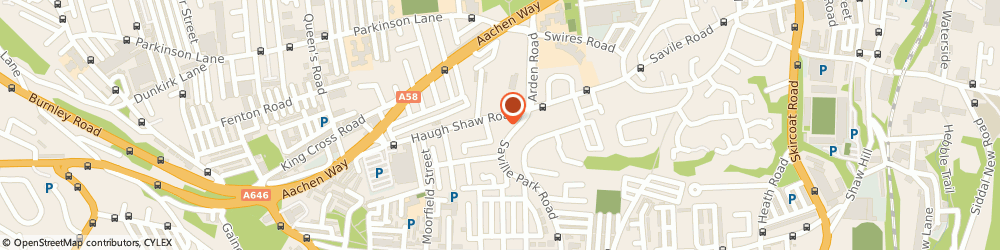 Route/map/directions to Lawrence Funeral Directors, HX1 2XR Halifax, Green Hayes