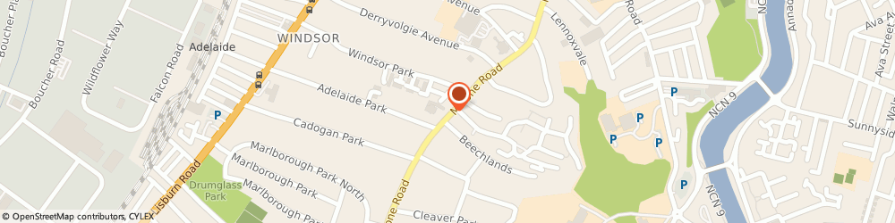 Route/map/directions to Ceva Ltd, BT9 6SB Belfast, MACNIECE HOUSE, 75-77 MALONE ROAD
