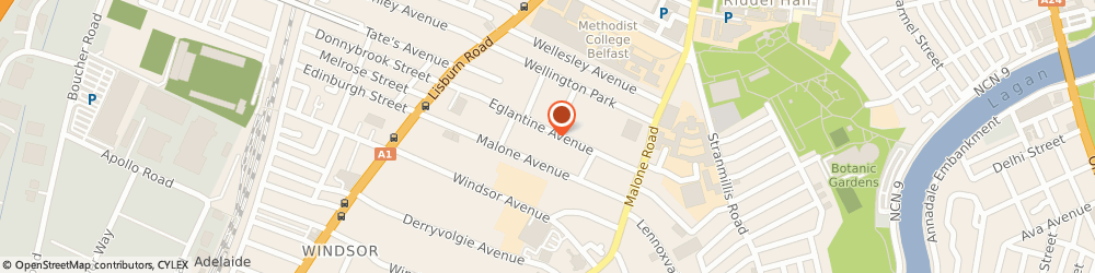 Route/map/directions to Mna Sports Management Limited, BT9 6EW Belfast, MP DOWNEY & CO ACCOUNTANTS, 65 EGLANTINE AVENUE
