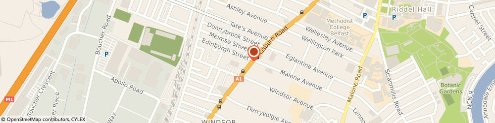 Route/map/directions to Patio Restaurant, BT9 7EJ Belfast, Unit 26/Kennedy Centre falls Road