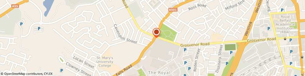Route/map/directions to Dr D.m Beirne, BT12 6AA Belfast, 115 falls Road