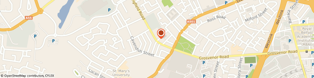 Route/map/directions to Springfield Medical Centre, BT12 7AH Belfast, 46 Springfield Rd