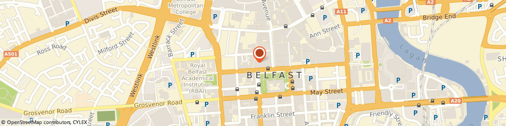 Route/map/directions to Elvi, BT1 5EB Belfast, 59 FOUNTAIN STREET