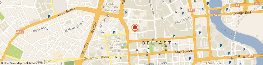 Route/map/directions to Sawers (1982) Ltd, BT1 1hf Belfast, 5 College Street
