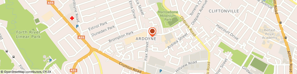 Route/map/directions to ARDOYNE YOUTH ENTERPRISES, BT14 7EJ Belfast, 11A Flax Street