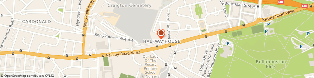 Route/map/directions to Southside Radio Cars, G52 1SJ Glasgow, 6 Cemetery Rd