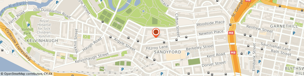 Route/map/directions to K.M. Woods Physiotherapy Ltd., G3 7SL Glasgow, 15 Royal Crescent