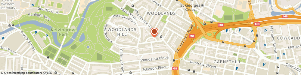 Route/map/directions to Thompsons, G3 6EQ Glasgow, 13 LYNEDOCH CRESCENT