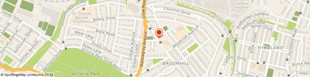 Route/map/directions to Broomhill Lawn Tennis & Squash Club, G11 7DZ Glasgow, 399 Crow Road